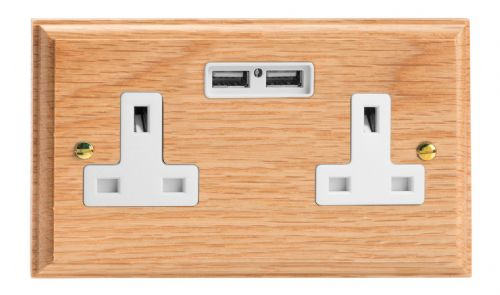 Varilight XK5U2OW Kilnwood Oak 2 Gang Double 13A Unswitched Plug Socket 2.1A USB